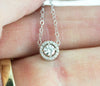 14k Moissanite Halo Necklace - White Gold Diamond Halo Slide Pendant