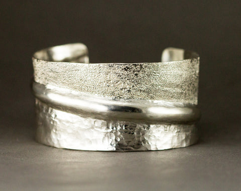 Sterling Fold Formed Cuff Bracelet - Two Textures Hammered Cuff