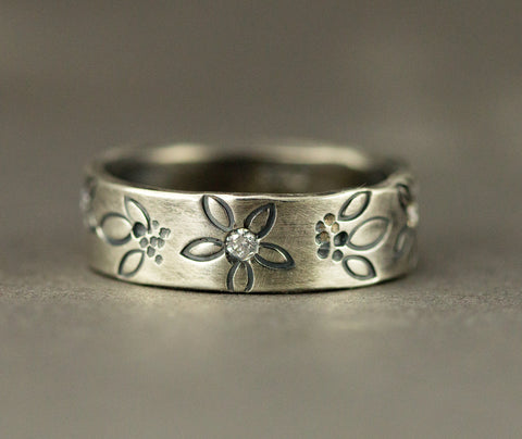 Summer Flowers Wedding Ring - Whimsical Floral Diamond Band