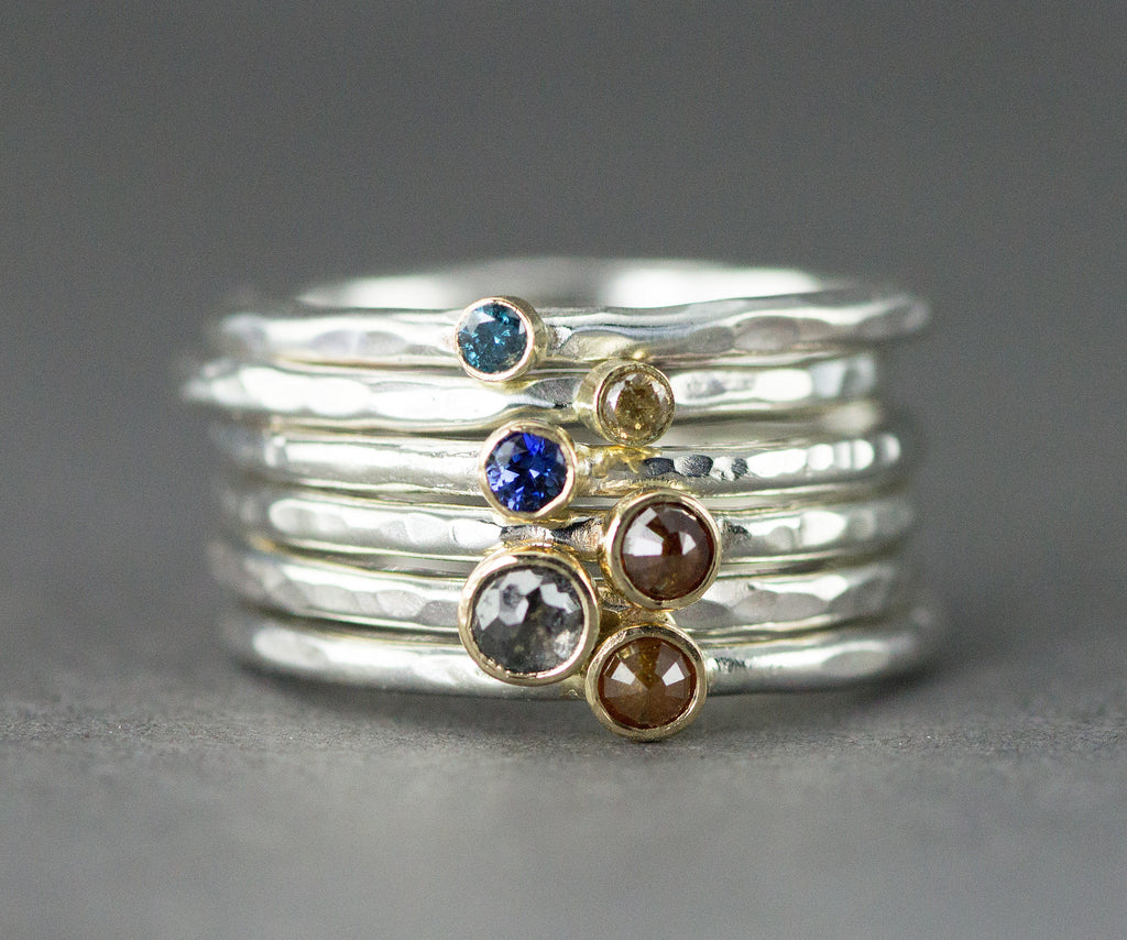 18k and Sterling Diamond Stack Rings