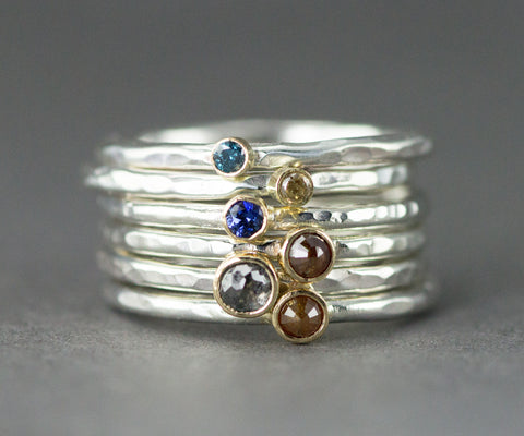 18k and Sterling Diamond or Sapphire Stack Rings - Rose Cut Diamonds - Colored Sapphires
