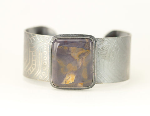 Purple Flame Jasper Cuff Bracelet - Etched Flower Pattern Cuff