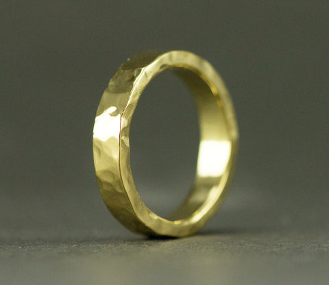 Hammered 18k Gold Wedding Ring - 4 x 2 mm 18k Yellow Gold Wedding Band