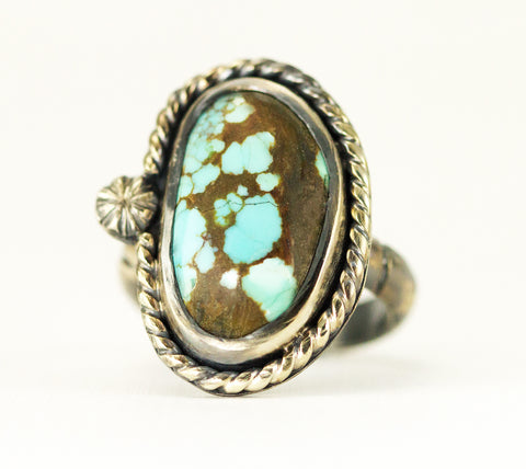 Number 8 Mine Turquoise Ring - Sterling Turquoise Statement Ring - Ladies Ring