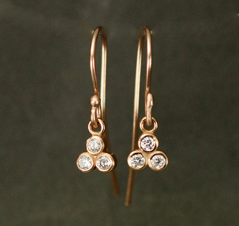 14k Gold Diamond Cluster Dangle Earrings - Rose Gold Diamond Drops - Petite Diamond Earrings