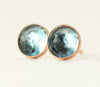 Rose Gold Blue Topaz Studs