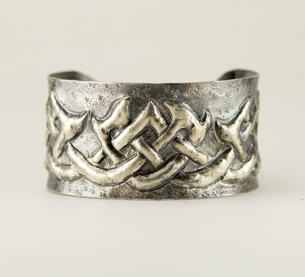 Sterling Celtic Pattern Cuff Bracelet - Gaelic Cuff - Tribal Cuff ...