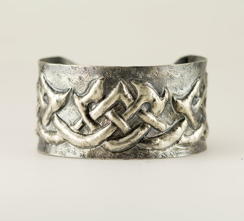 Sterling Celtic Pattern Cuff Bracelet - Gaelic Cuff - Tribal Cuff
