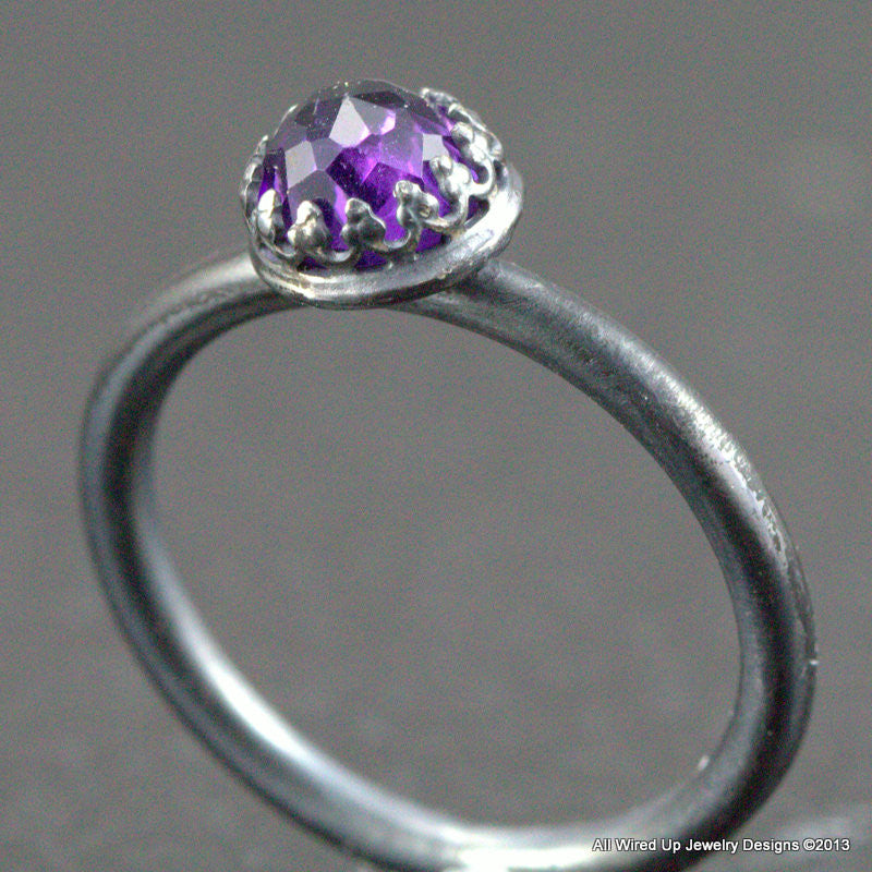 Amethyst 6mm Rose Cut Ring
