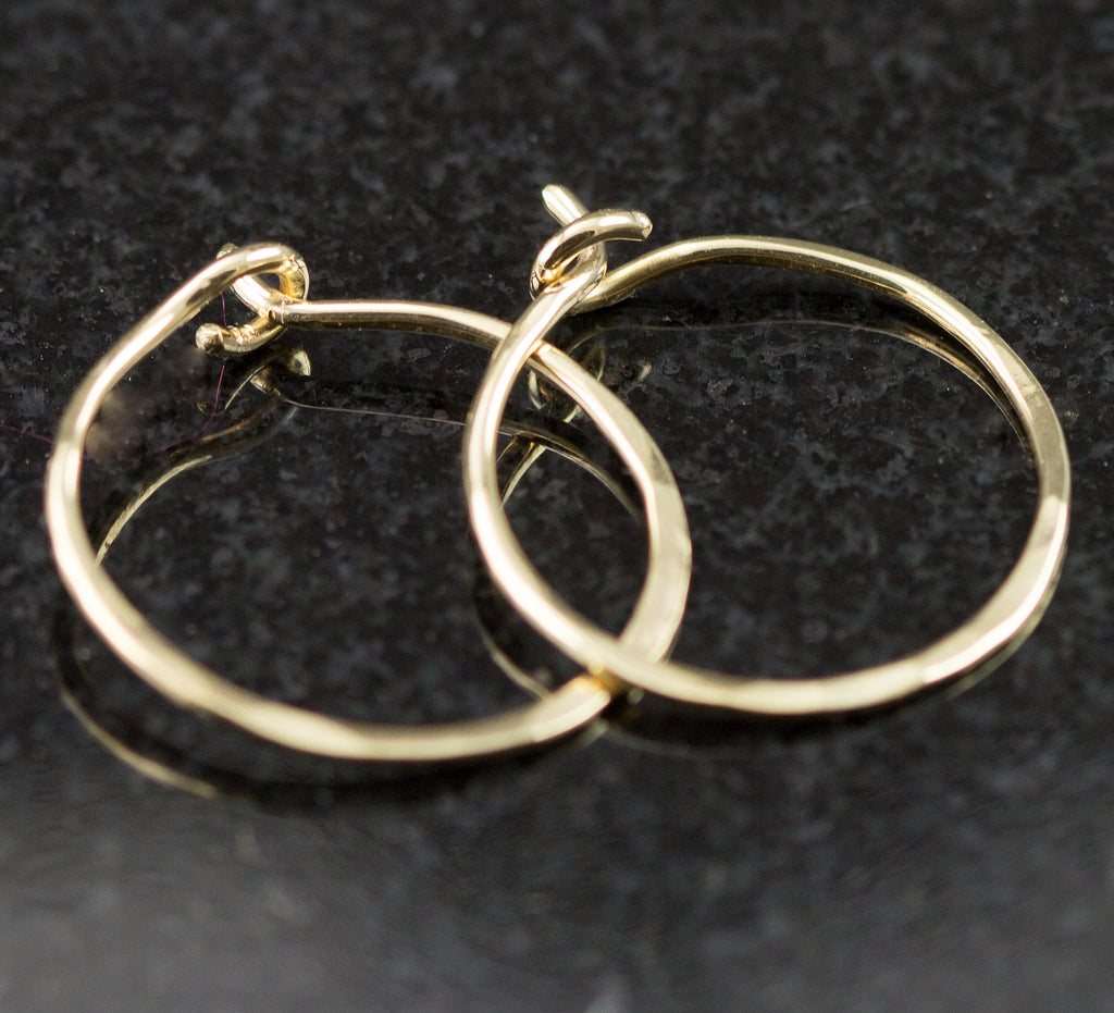 Solid 18k Gold Hoop Earrings - Small Continuous Gold Hoops - All ...