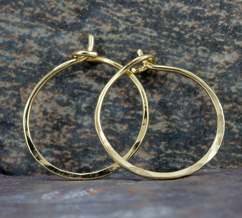 Solid 18k Gold Hoop Earrings - Small Continuous Gold Hoops