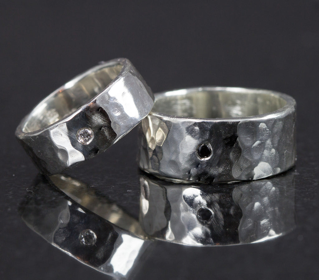 His and Hers Diamond Wedding Bands - Sterling Wide Wedding Rings Hammered or Smooth Finish