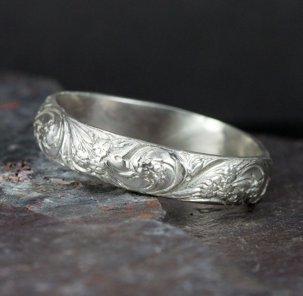 Sterling Silver Floral Pattern Band Ring Flower Wedding Band