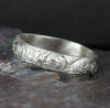 Sterling Silver Floral Pattern Band Ring - Flower Wedding Band