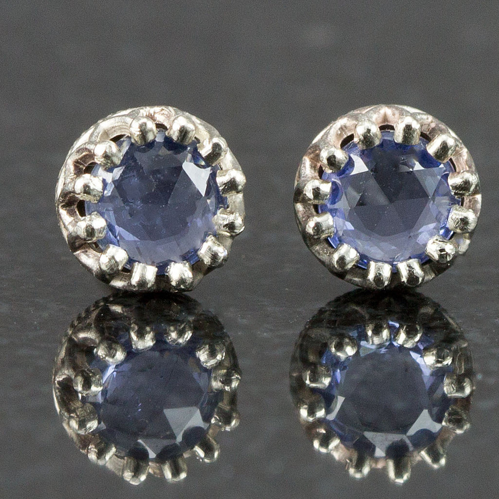 Rose Cut Sapphire Earrings