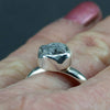 Rough Diamond Engagement Ring - Uncut Natural Diamond Ring in Palladium Sterling
