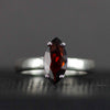 Faceted Marquis Garnet Ring - Sterling Garnet Ring - Size 7 Marquis Stone Ring
