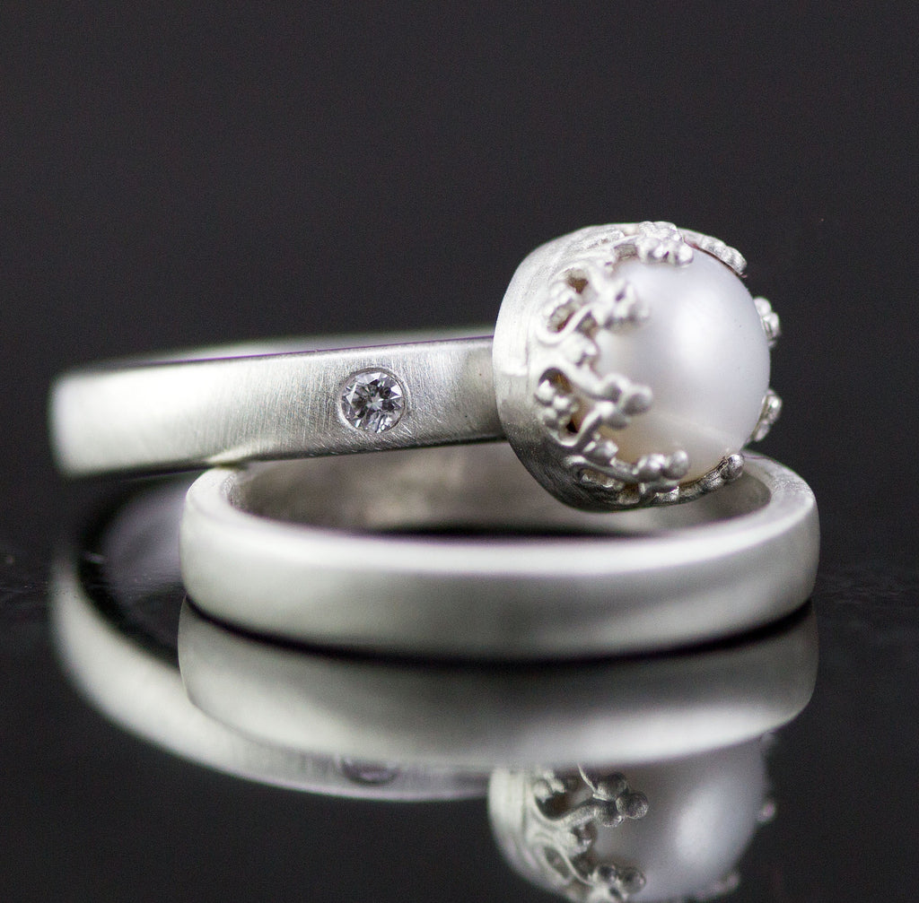 Pearl and Diamond Wedding Rings