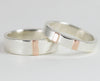 14k Rose Gold and Sterling Wedding Bands