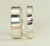 Rose Gold and Sterling Matching Bands, 14k Gold Accent WeddingRings