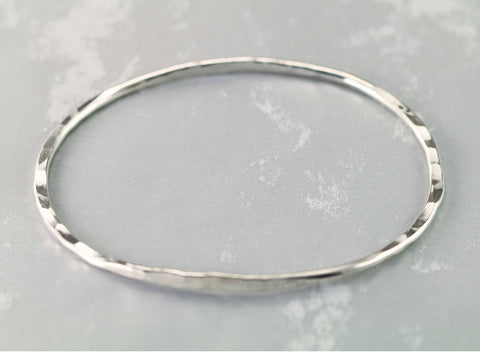 Sterling Hammered Bangle - Oval Bangle Bracelet - Ellipse Bangle
