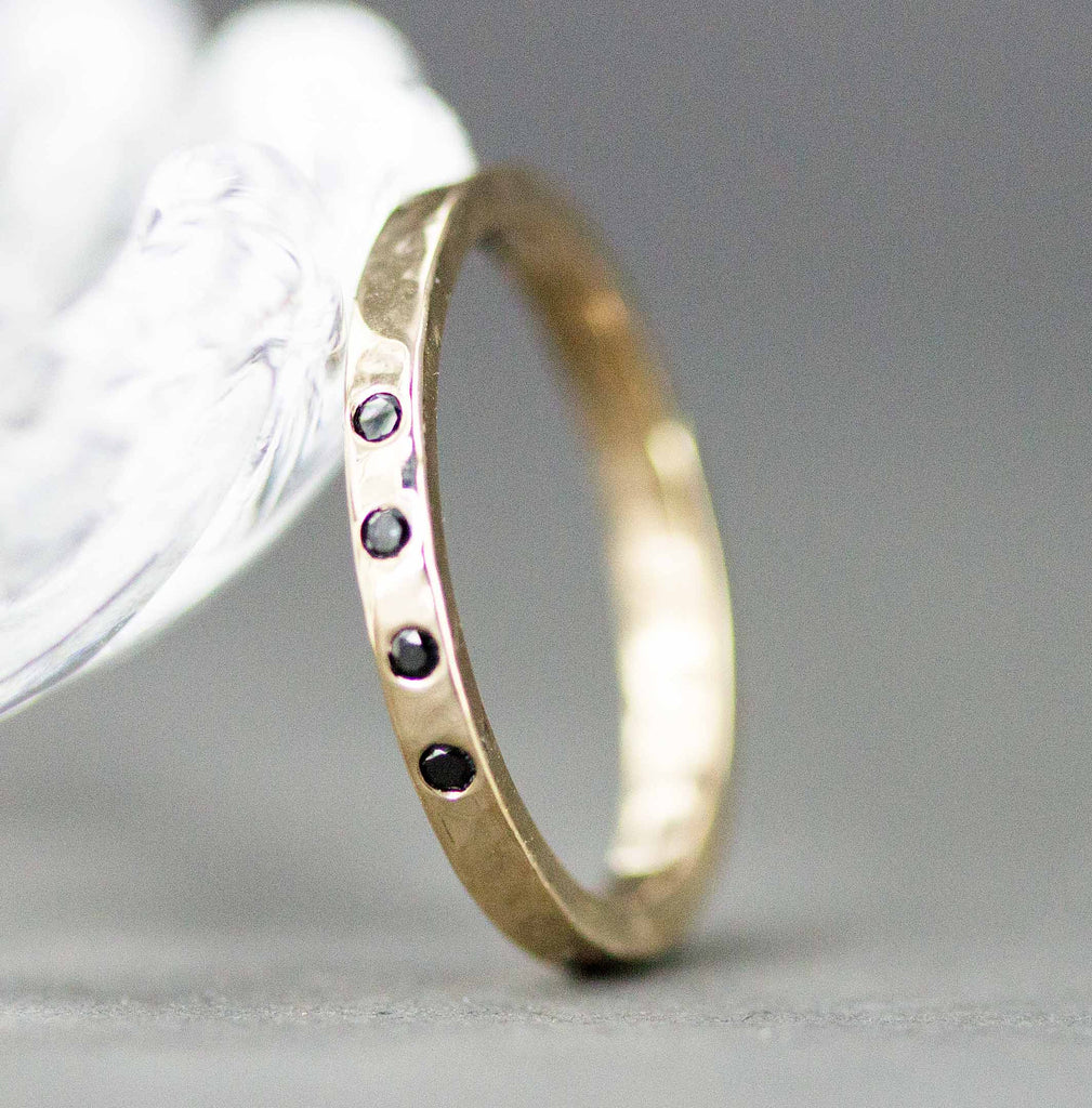 14k Gold and Black Diamond Band