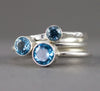 Swiss Blue Topaz Stacking Rings - Sterling 6mm, 5mm or 4mm Gemstone