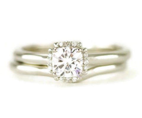 14k Gold Moissanite Halo Bridal Set - White Gold Halo Engagement Ring - Contour Band