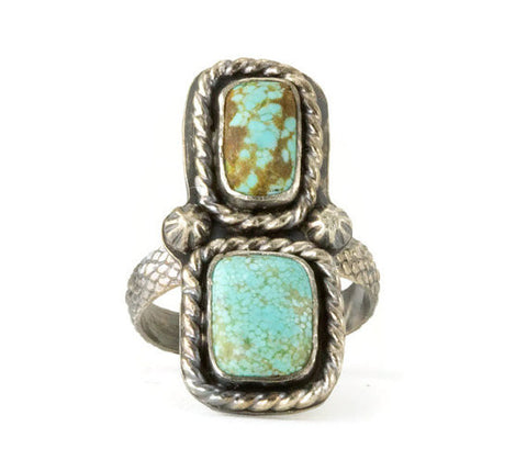 Turquoise Boho Ring - Sterling Turquoise Two Stone Statement Ring