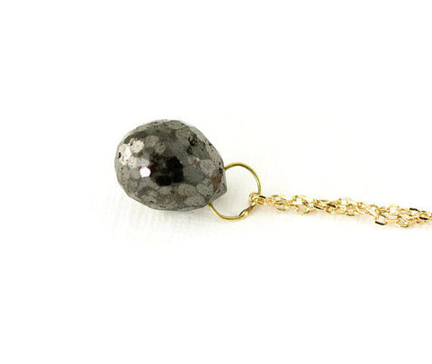 Black Diamond Necklace - Natural Diamond Briolette Pendant