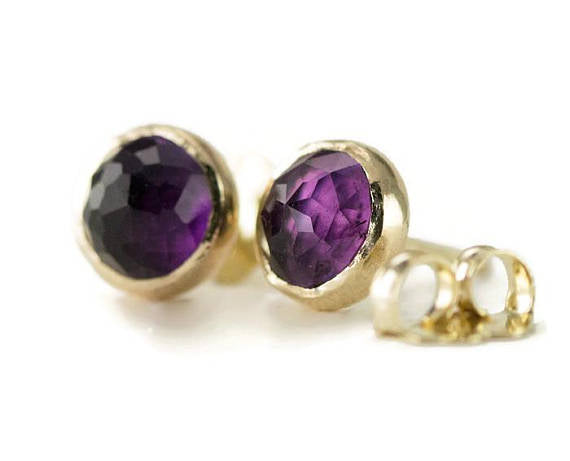 14k Rose Cut Amethyst Studs