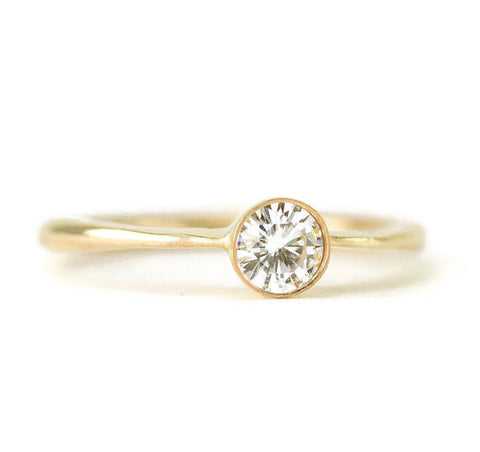 Forever One Moissanite Engagement Ring - 14k Yellow Gold Eco-Friendy Ring