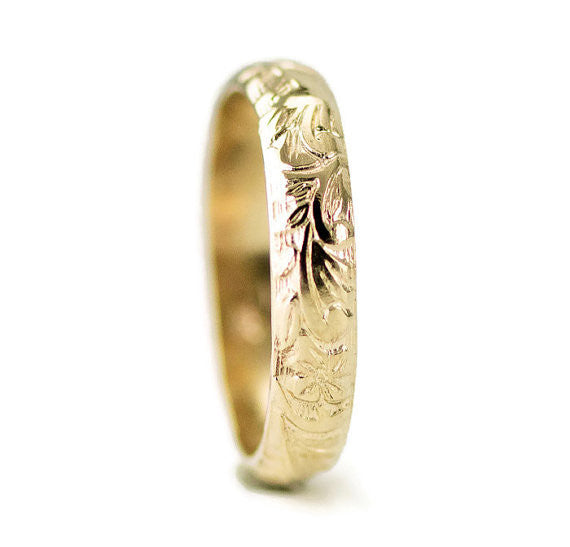14k Gold Flower Wedding Band