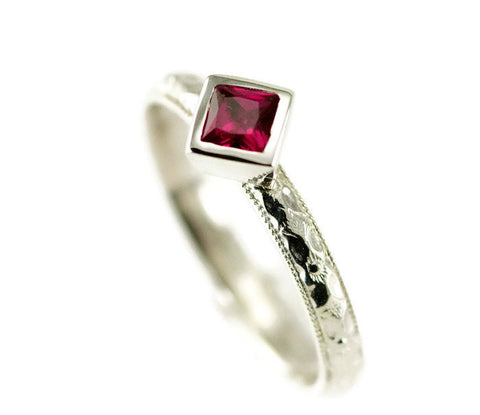 Princess Cut Ruby Stack Ring - Sterling Pattern Band - Choose Your Stone and Band