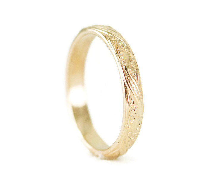 Gold Engraved Wedding Band Vintage Style Yellow Gold Ring All