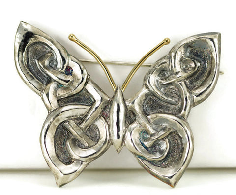 Sterling Butterfly Brooch - Celtic Butterfly Pin - 18k and Sterling