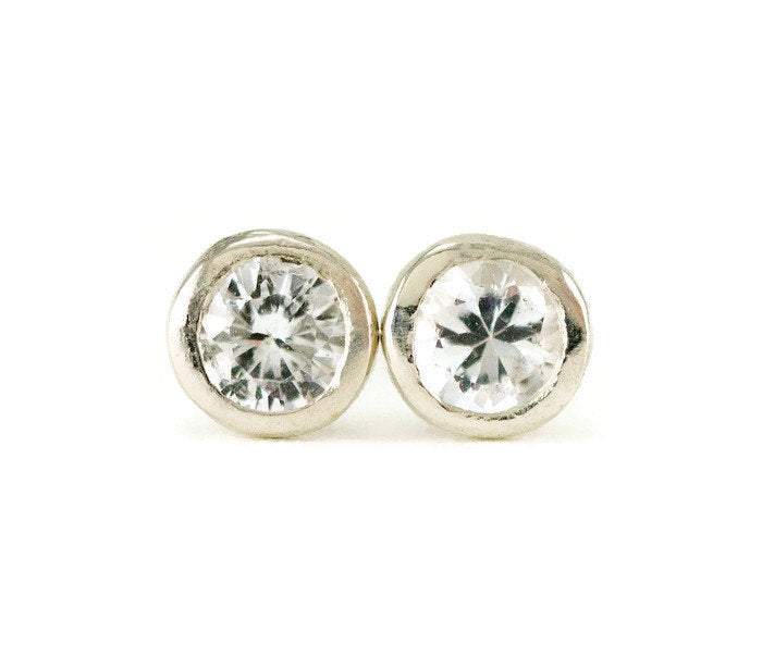 White Sapphire Post Earrings - Small Sterling Birthstone Studs - All ...
