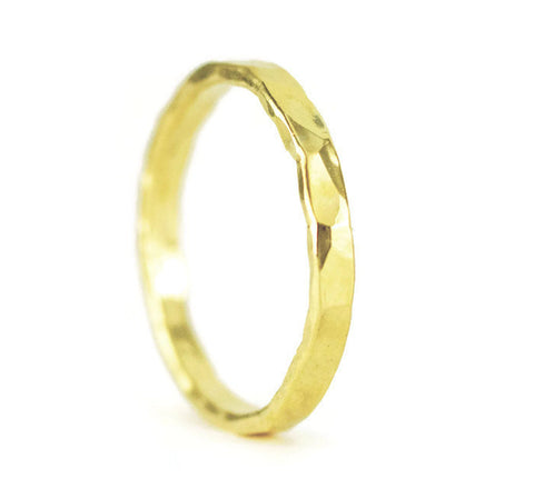 22k Yellow Gold Hammered Wedding Band - 22k Gold Stacking Ring