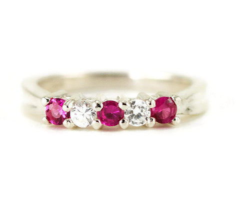 Sterling Five Stone Anniversary Ring - Anniversary Band - Ruby Birthstone Ring