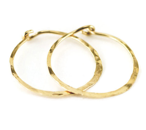 14k Gold Endless Hoops - Solid 14k Gold 1 Inch Hoop Earrings - 14k Yellow Gold