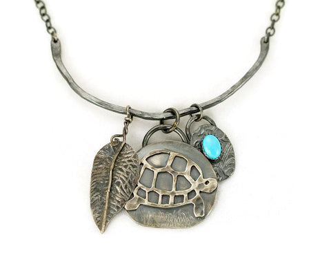 Turtle Charm Necklace - Sleeping Beauty Turquoise Sterling Necklace