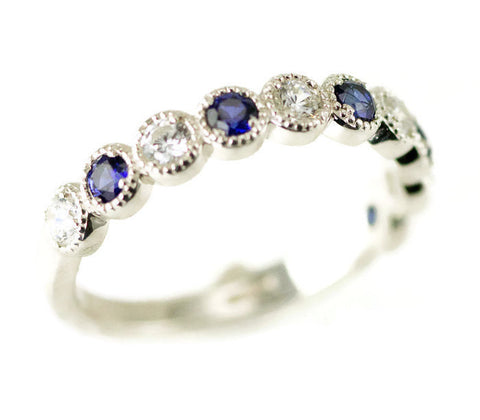 Sterling Beaded Stacking Ring - 10 Stone Anniversary Band - Sapphire Birthstone Ring