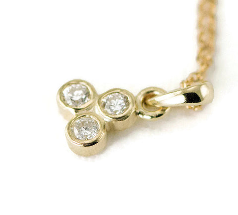 14k Diamond Trio Necklace - Select Yellow, White or Rose Gold
