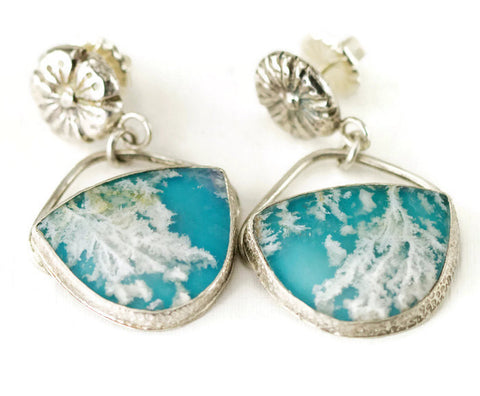Plume Agate Earrings - Turquoise Post Earrings