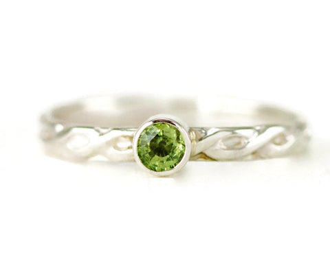 Demantoid Garnet Sterling Stack Ring - Green Garnet Ring