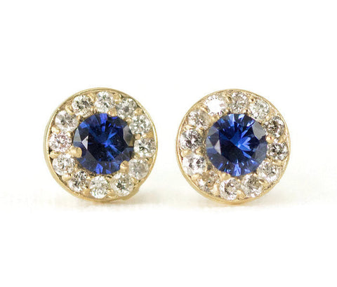 14k Gold Sapphire Halo Stud Earrings - Yellow Gold Diamond Studs