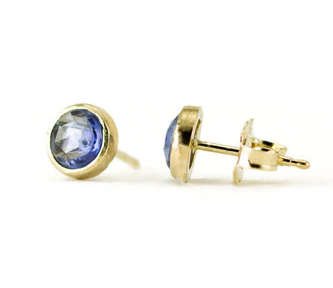 14k Gold Rose Cut Sapphire Stud Earrings - 1 ctw, 14k Yellow, White or Rose Gold