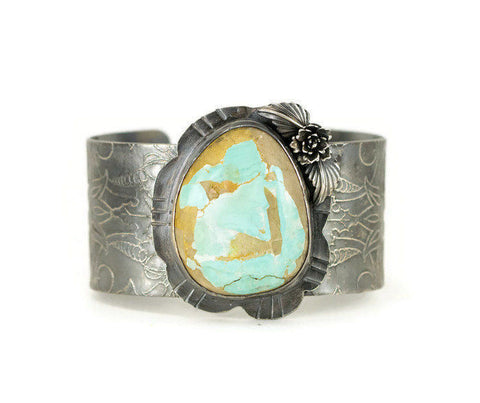 Royston Ribbon Turquoise Cuff Bracelet - Sterling Etched Pattern Statement Cuff