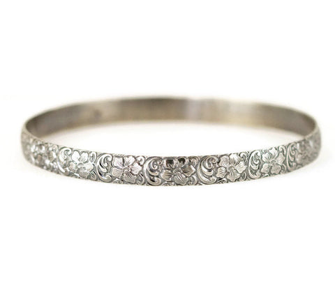Sterling Flower Bangle - Wide Pattern Layering Bangle Bracelet