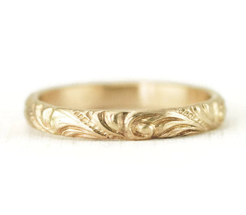 14k Yellow Gold Vintage Style Wedding Ring - Gold Wedding Band